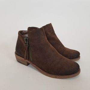 GIANNI BINI Brown Suede Double Zip Ankle Booties.
